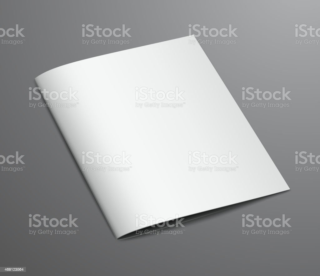 Blank White Closed Brochure Magazine, Isolated on Dark Backgroun vector art illustration