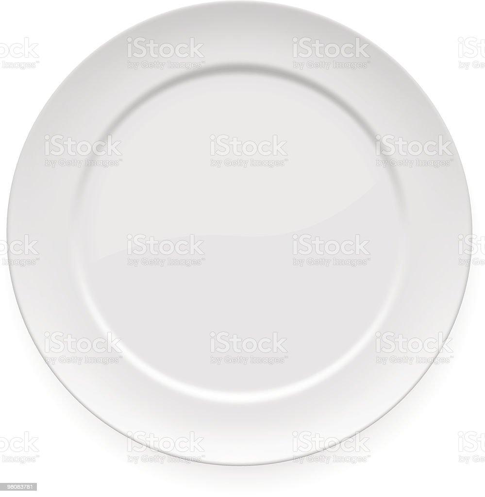 Blank white dinner plate vector art illustration