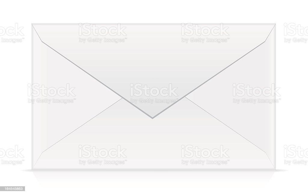 Blank white envelope isolated on white background vector art illustration