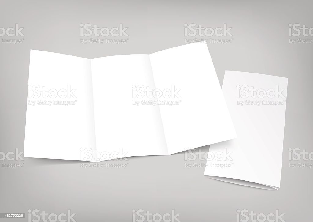 Blank white folding paper flyer on gray background vector art illustration