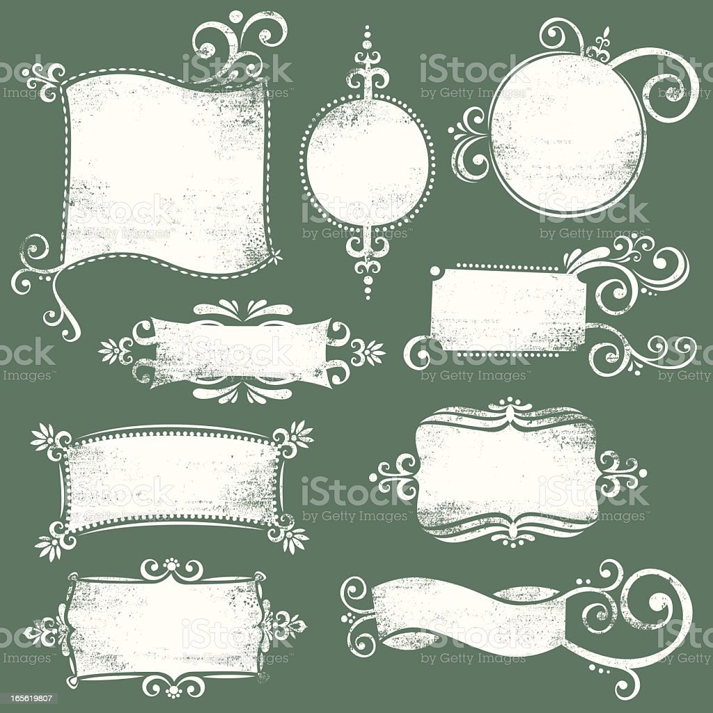 Blank white grunge banner collection on green background vector art illustration