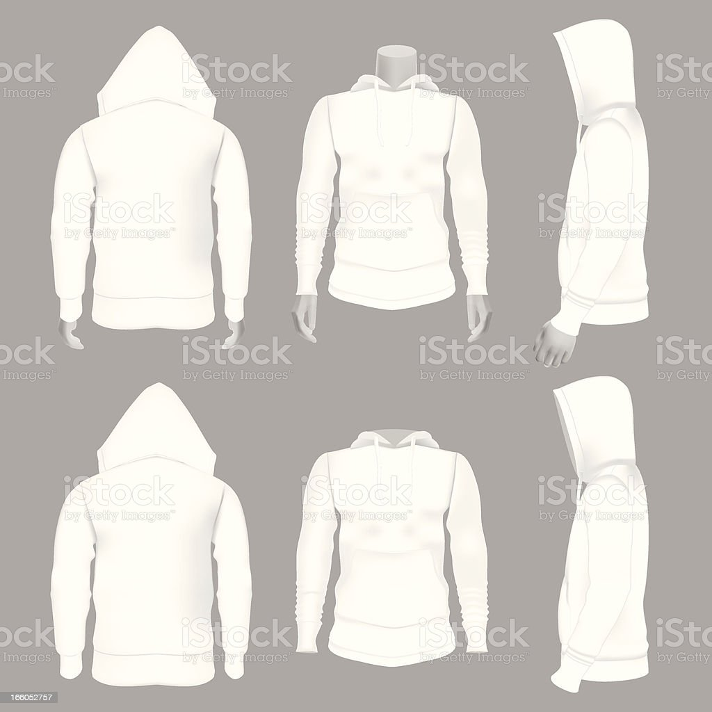 Blank White Hoodie Perfect for mock ups royalty-free stock vector art