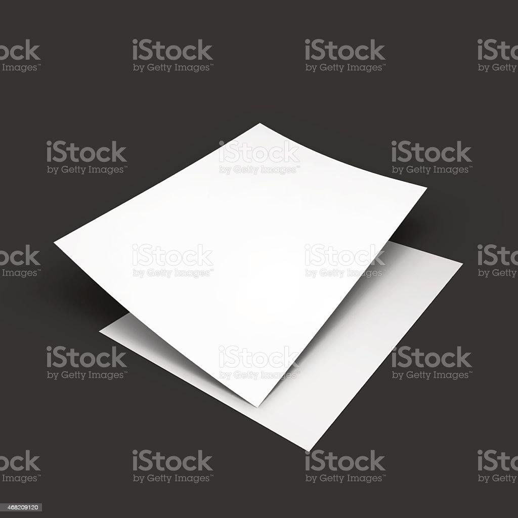Blank white paper falls on to another on black background vector art illustration