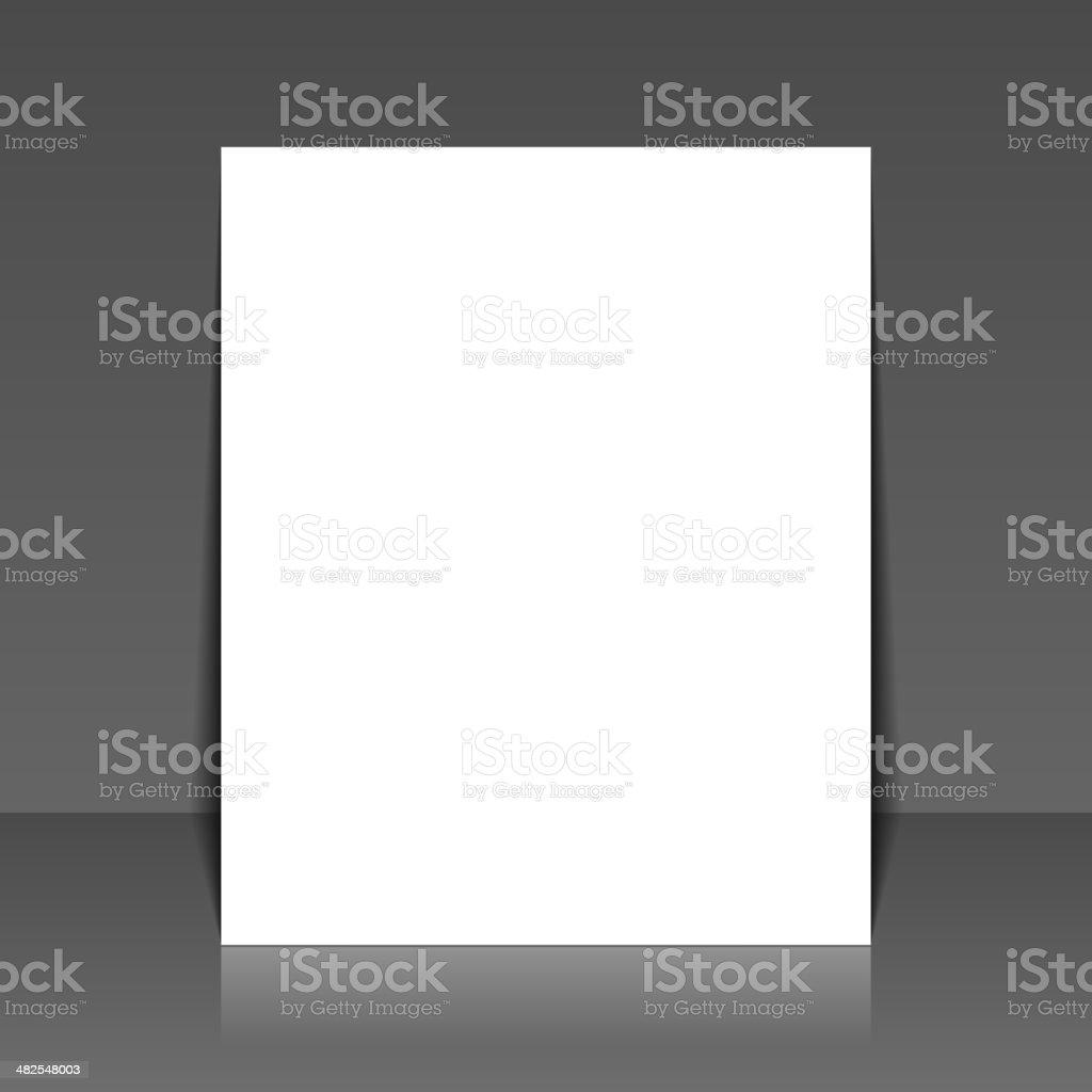 Blank White Paper on Dark Background. Vector royalty-free stock vector art