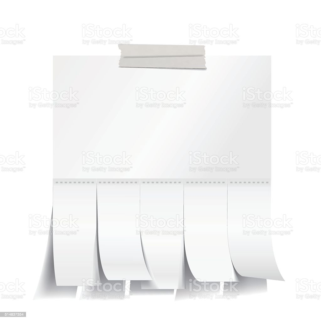 Blank white paper with cut slips vector art illustration