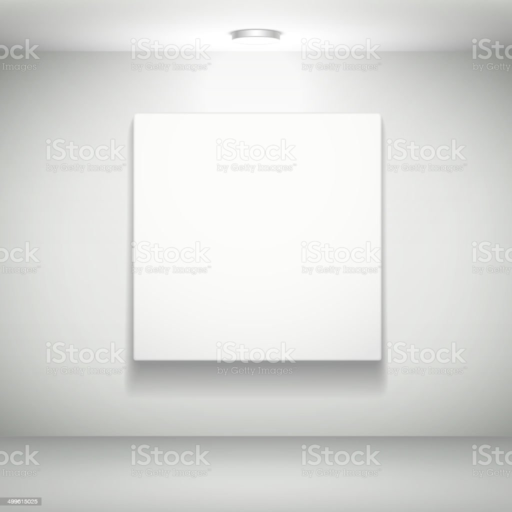 blank white picture on white wall vector art illustration
