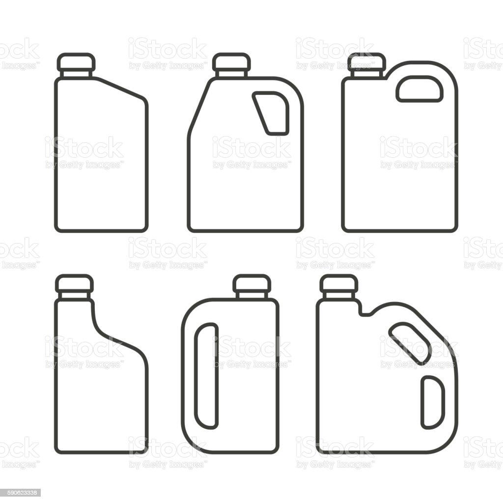 Blank White Plastic Canisters Icons Set for Motor Machine Oil vector art illustration