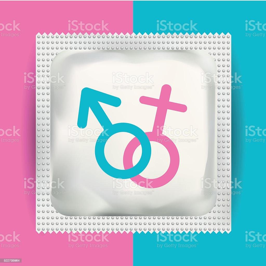 Blank white plastic condom pack for Branding. Vector Mock-up. vector art illustration