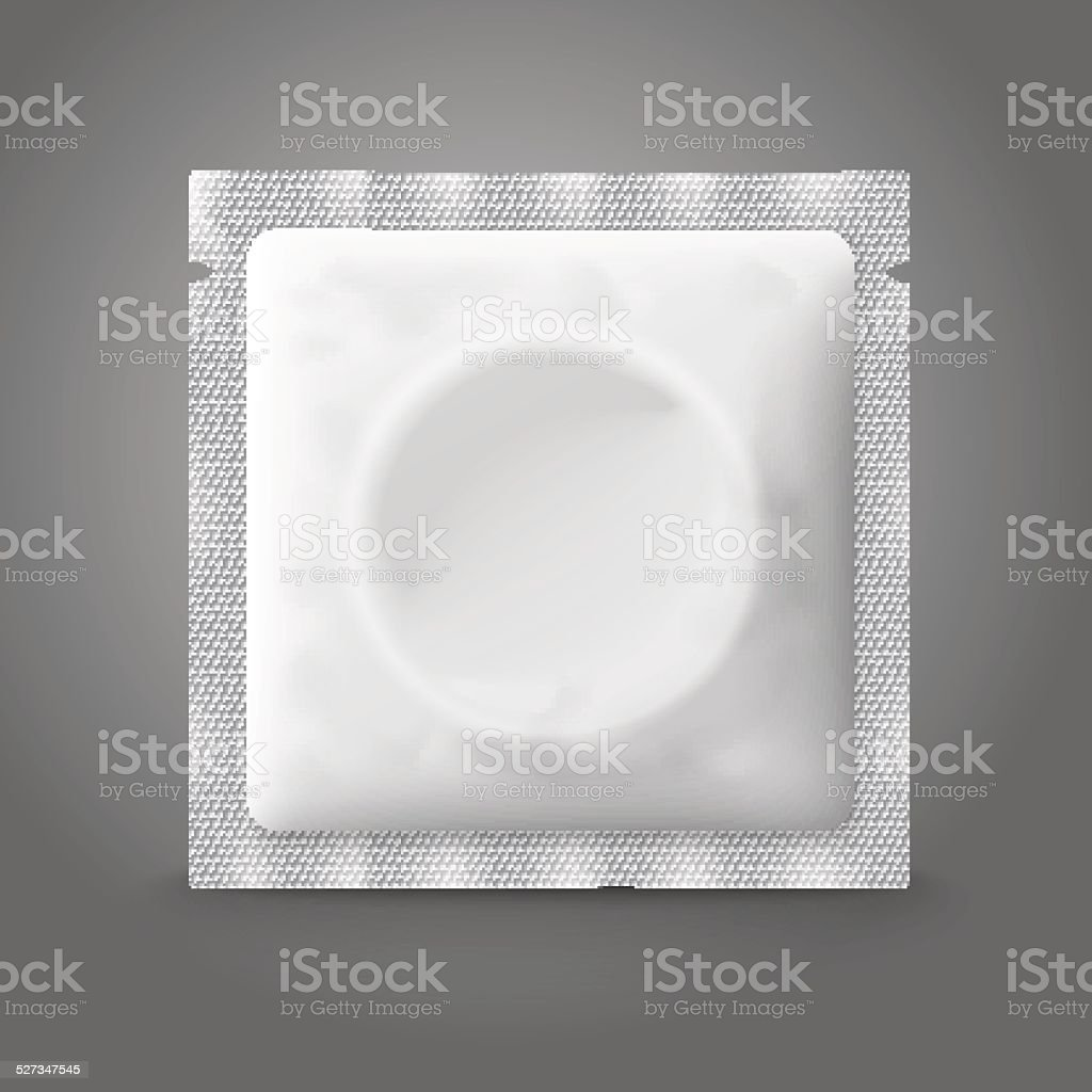 Blank white plastic condom pack, isolated on grey background with vector art illustration