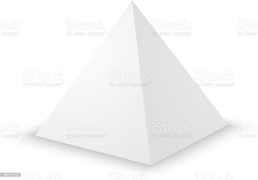 Blank white pyramid, 3d template. vector art illustration
