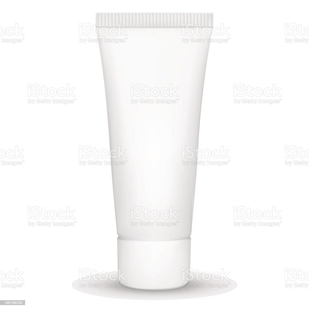 Blank white realistic tube vector art illustration