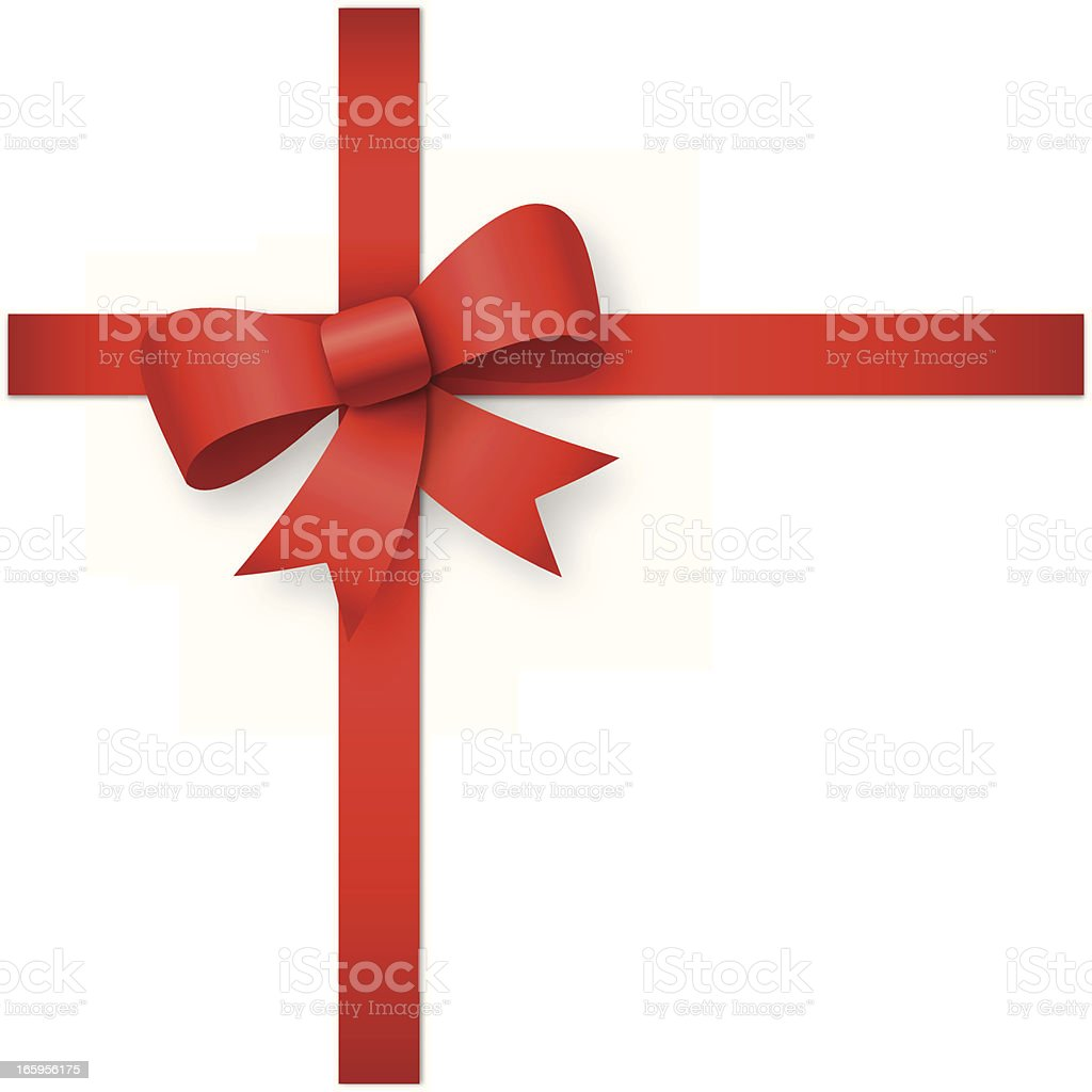 Blank white screen with a red ribbon tied into a bow royalty-free stock vector art