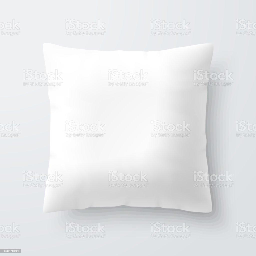 Blank white square pillow vector art illustration