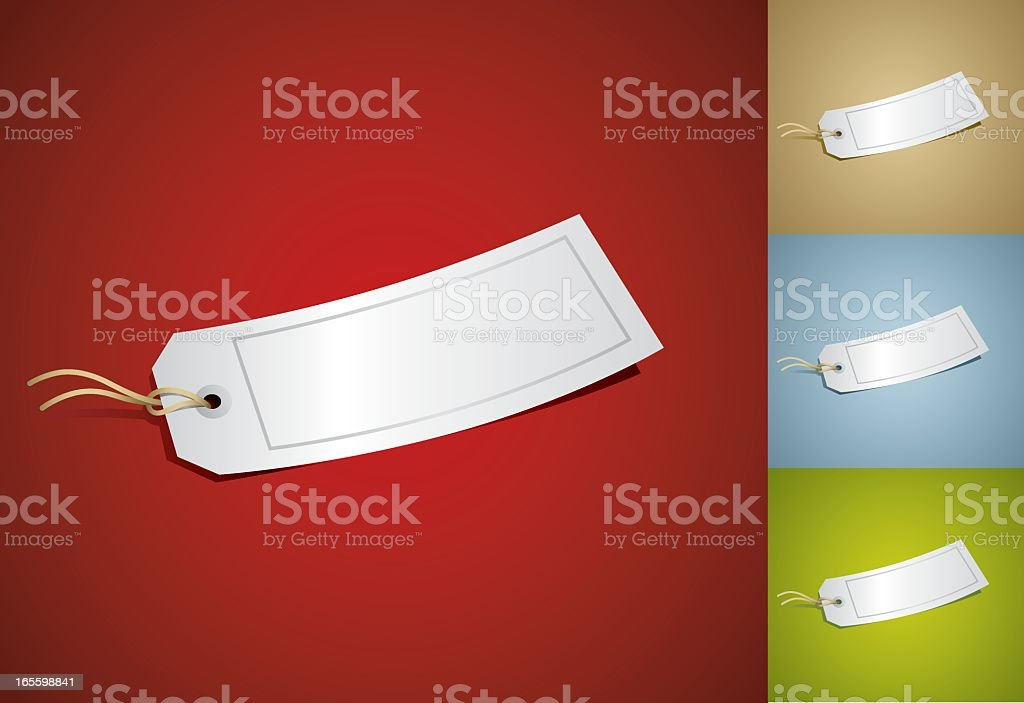 Blank white tie-on tags on various colored backgrounds royalty-free stock vector art