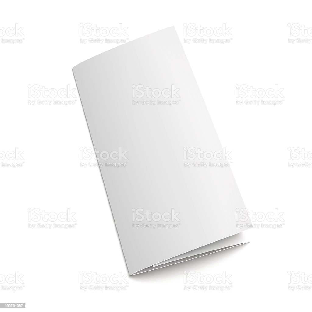 Blank white tri-folded paper brochure on white background vector art illustration