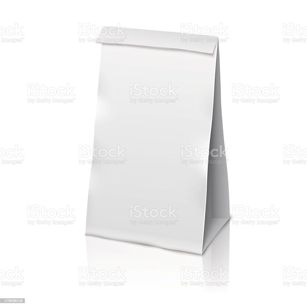 Blank white vector realistic paper packaging bag with place for vector art illustration
