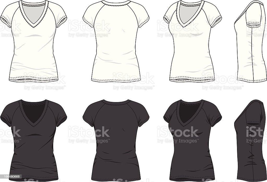 Blank Women's t-shirt vector art illustration