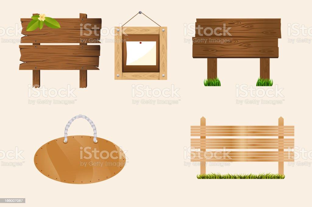Blank wood signs vector art illustration