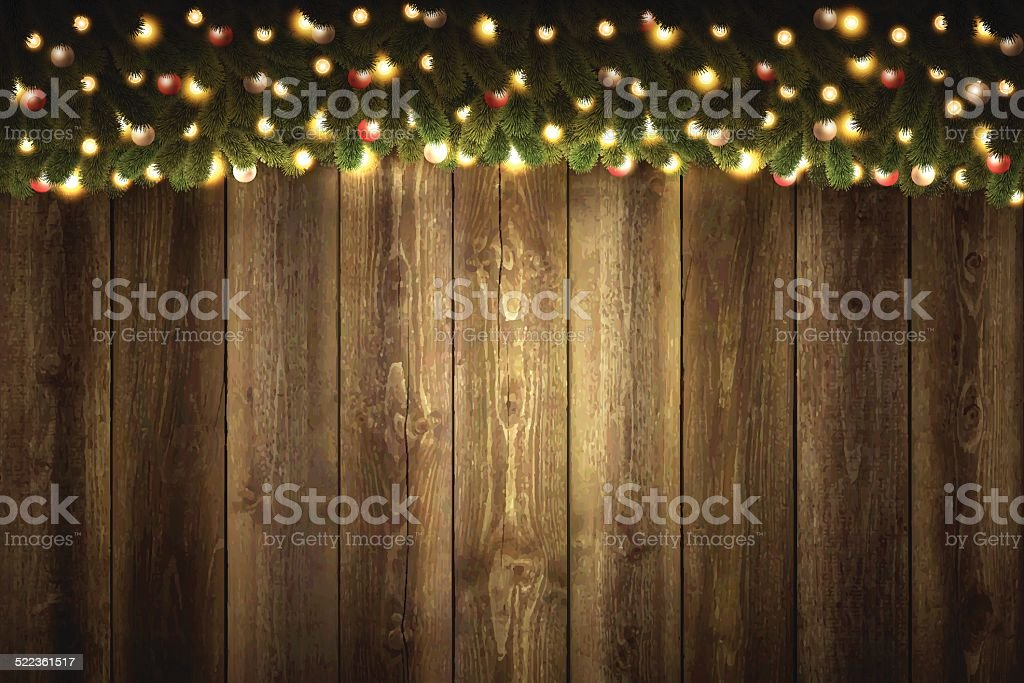 Blank Wooden Background with bright Christmas garland vector art illustration