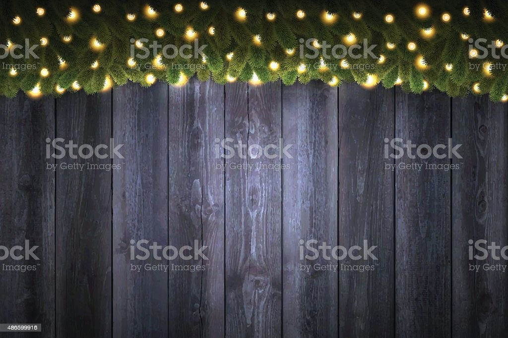 Blank Wooden background with bright Christmas garland - vertical vector art illustration