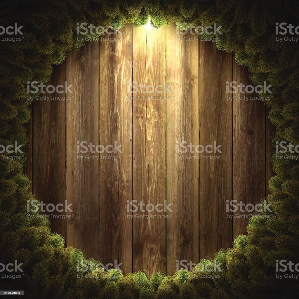 Blank Wooden Background with Christmas wreath vector art illustration