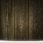 Blank wooden background with falling Snow