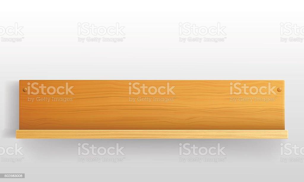Blank wooden bookshelf vector art illustration