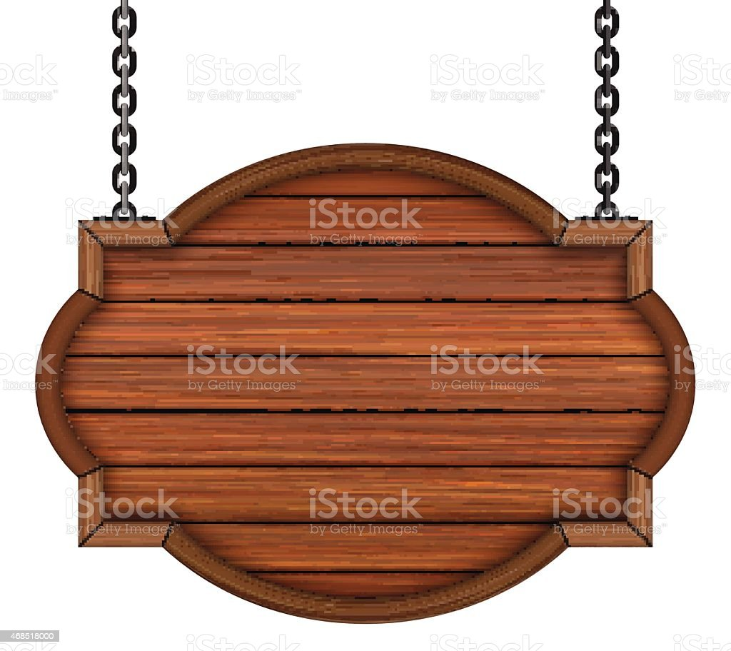 Blank wooden sign hanging by chains on white background  vector art illustration