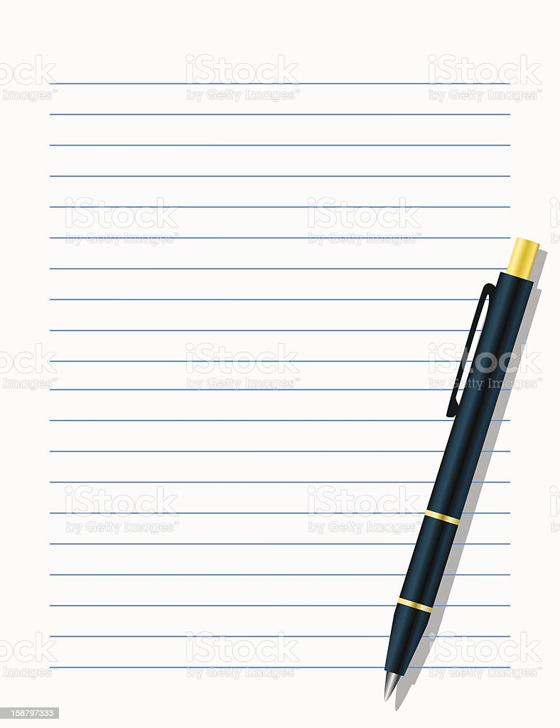 Blank workbook page with pen royalty-free stock vector art