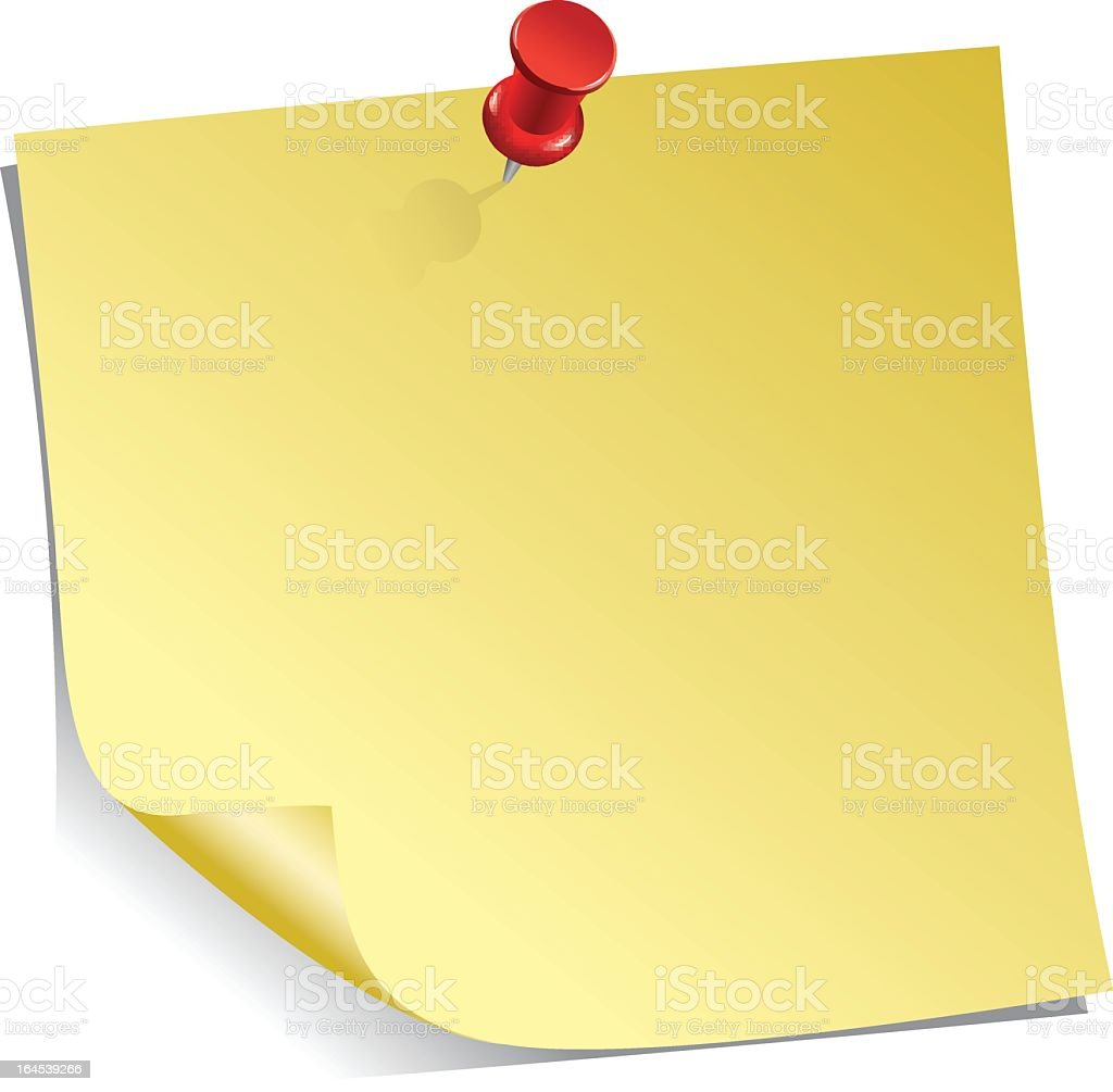 Blank yellow sticky note attached by red push pin  vector art illustration