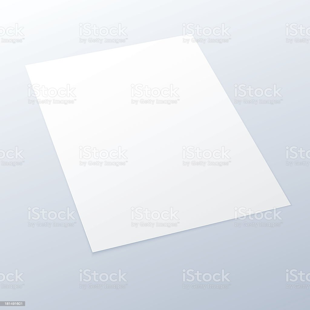 Blank/empty A4 office paper on a light background. royalty-free stock vector art