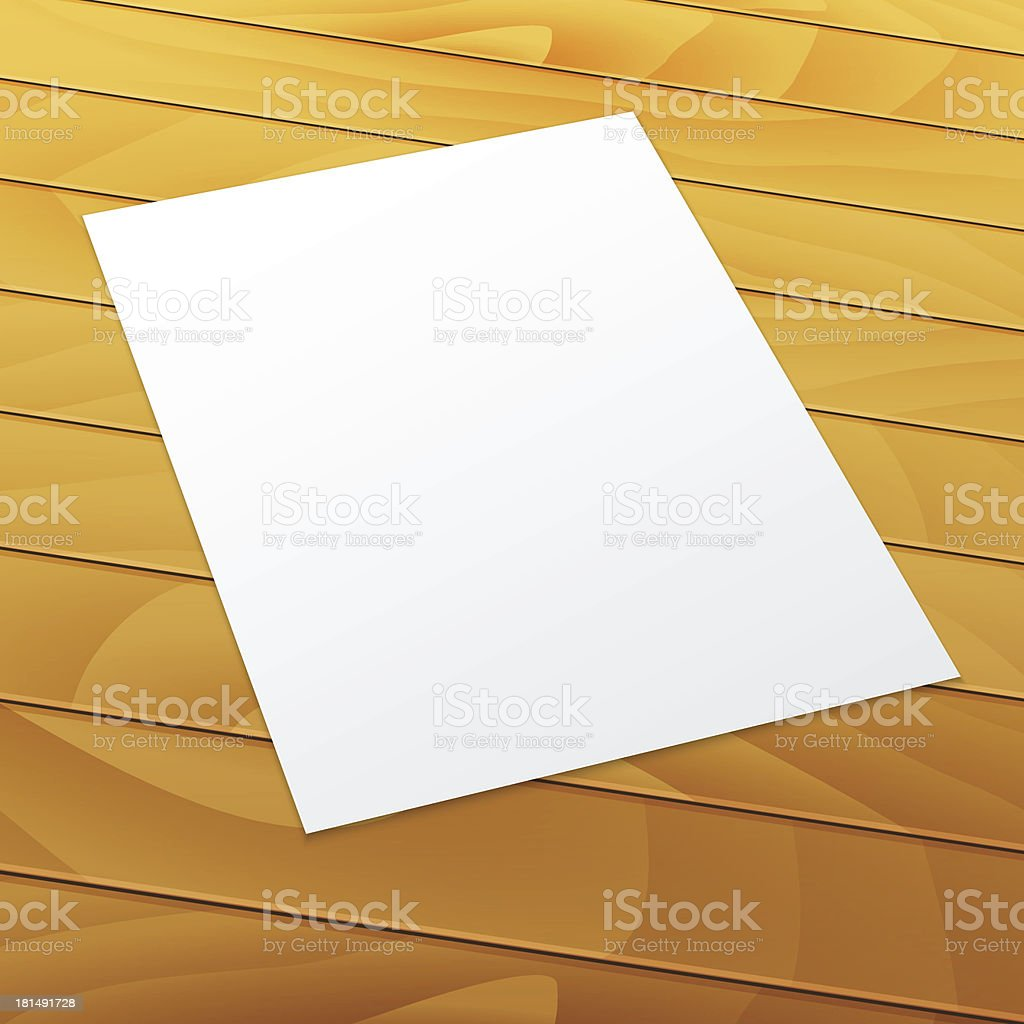Blank/empty A4 office paper on a wood background. royalty-free stock vector art