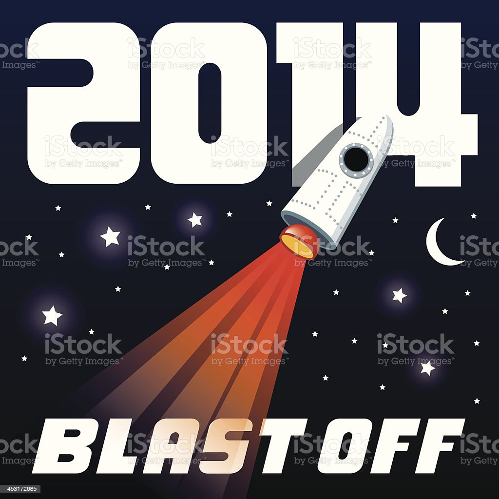 Blast off to the New Year of 2014 royalty-free stock vector art