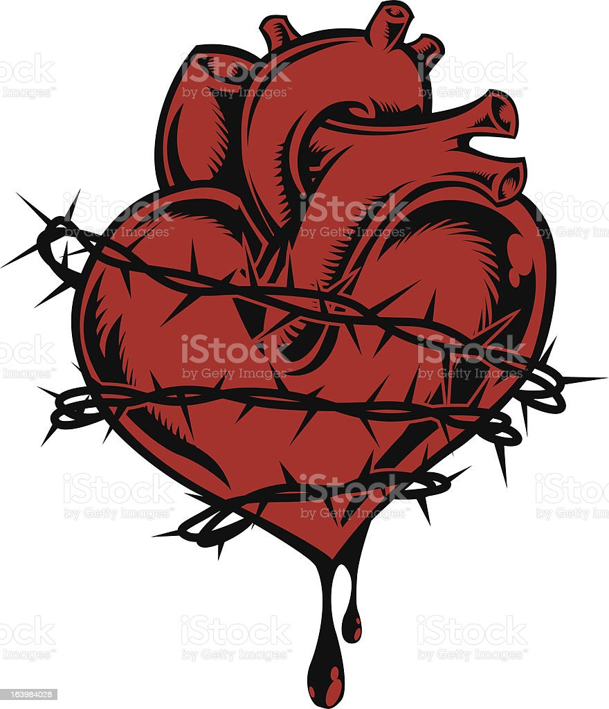 Bleeding heart wrapped with barbed wire royalty-free stock vector art