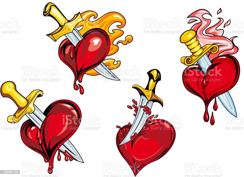 Bleeding hearts stabbed by daggers vector art illustration