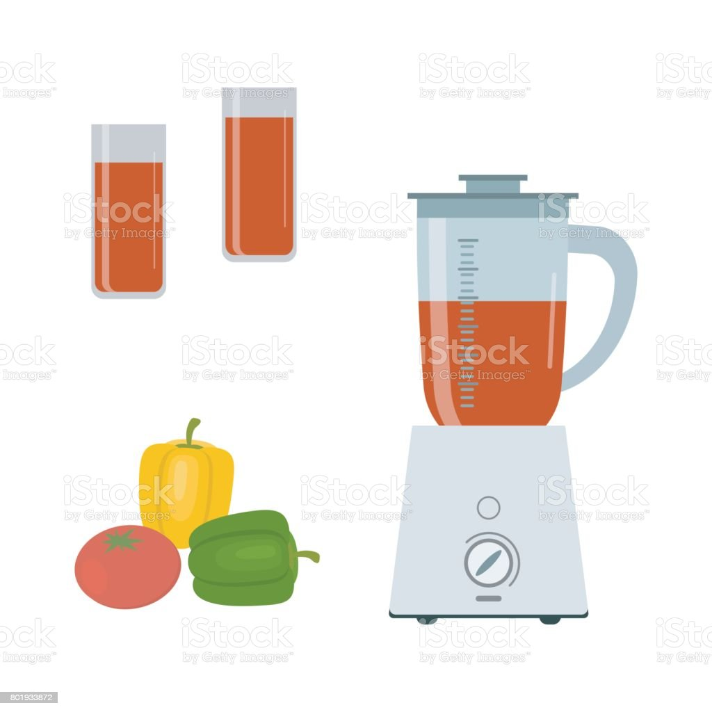 Blender, sweet peppers and tomato, isolated on a white background vector art illustration