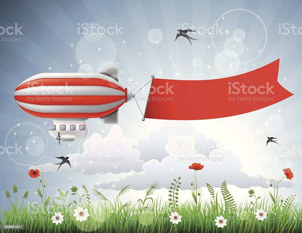 Blimp with Banner royalty-free stock vector art