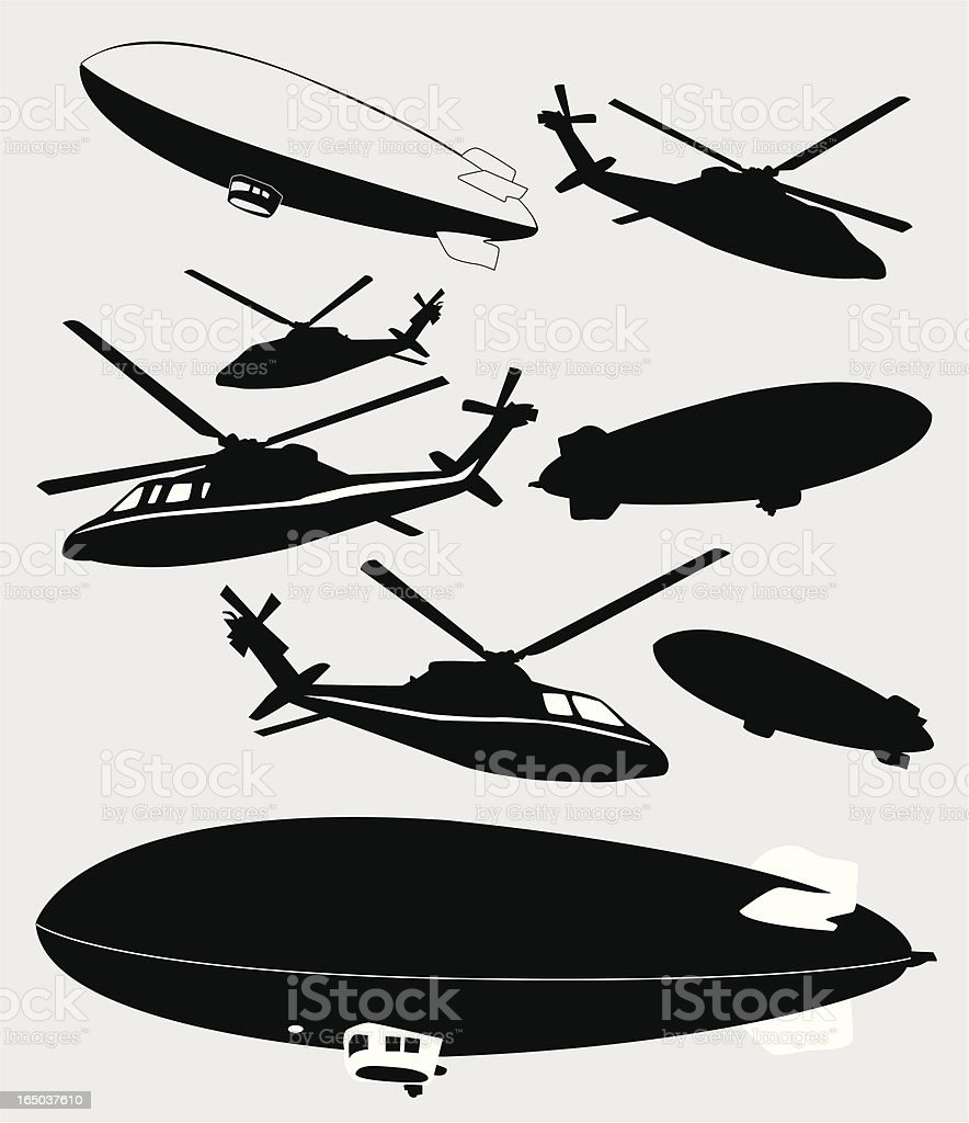 Blimps and Choppers  ( Vector ) vector art illustration