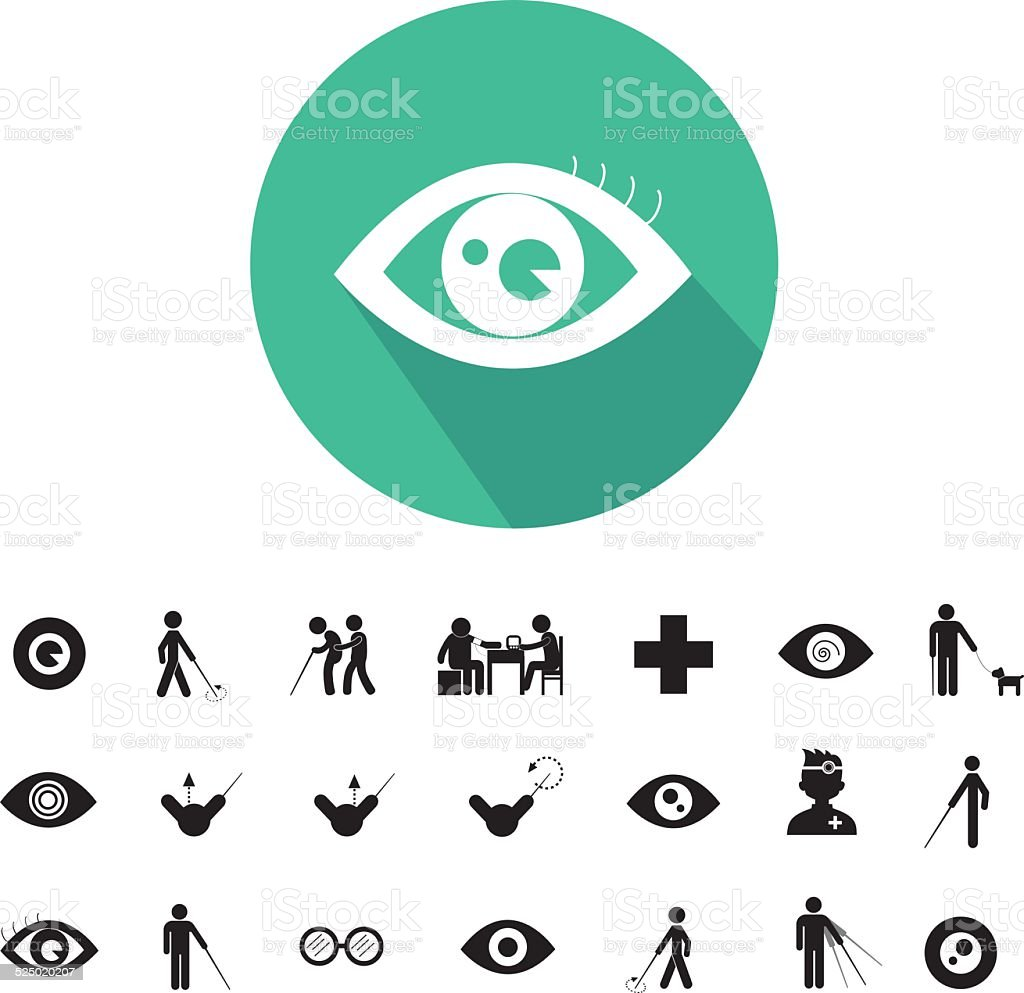 blind man and hospital icon vector art illustration