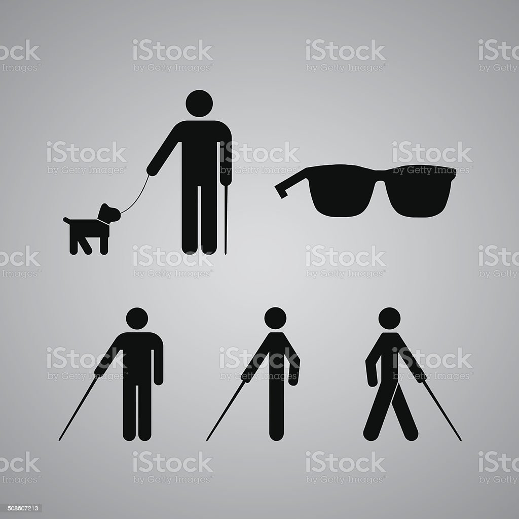 Blind man vector art illustration