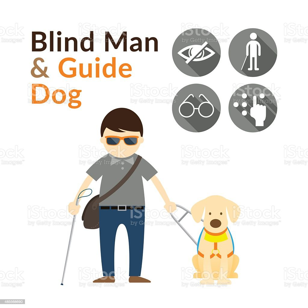 Blind Man with Guide Dog, Seeing Eye Dog vector art illustration