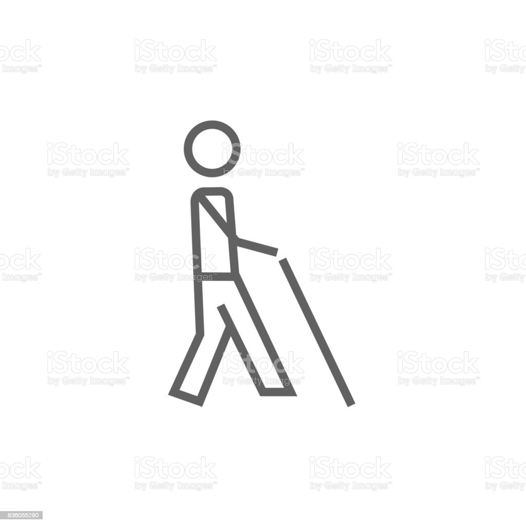 Blind man with stick line icon vector art illustration