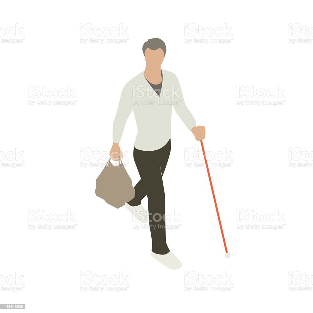 Blind man with support cane vector art illustration