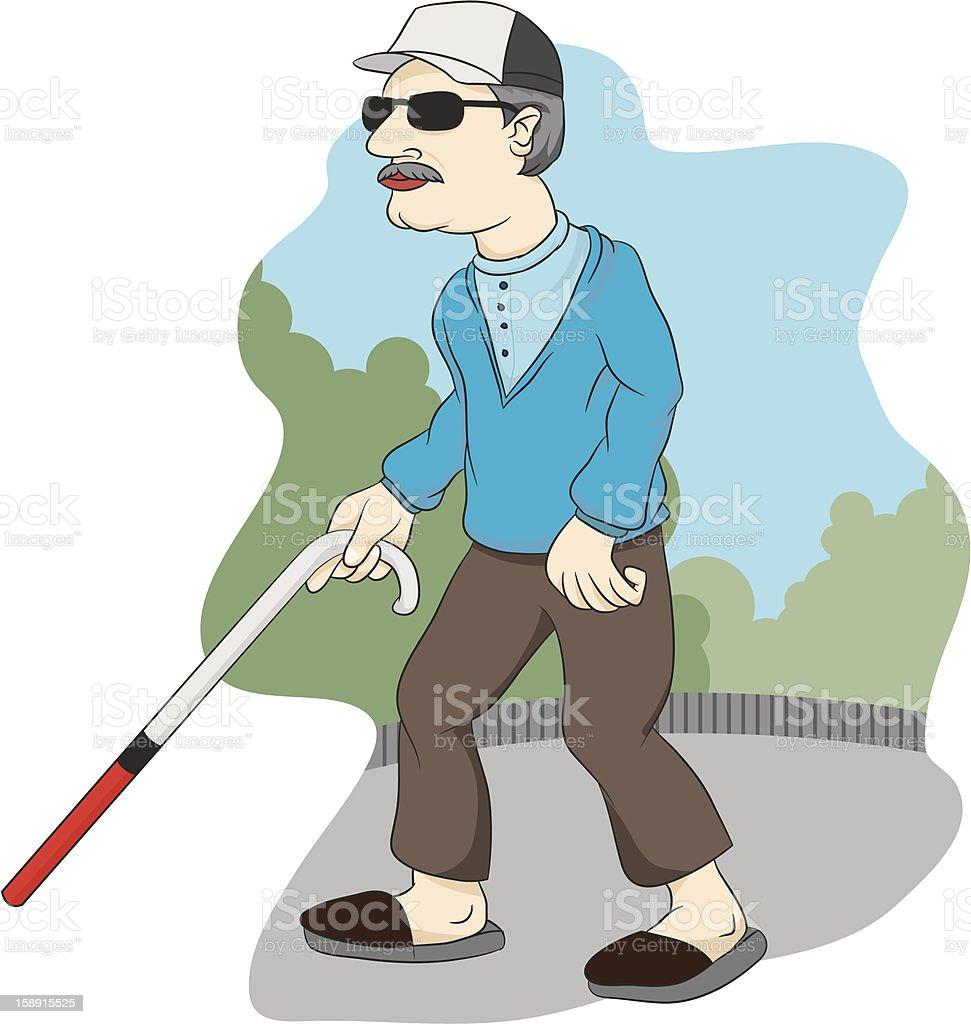 Blind Uncle vector art illustration
