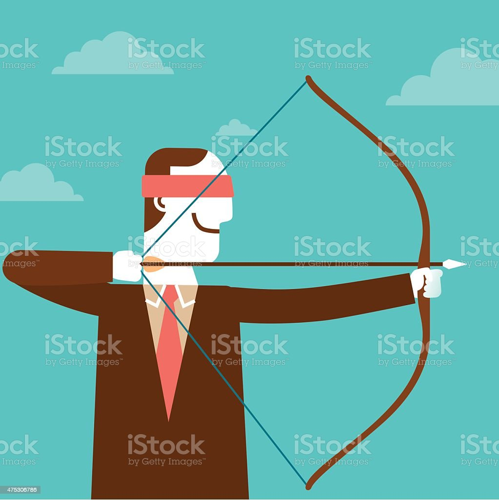 Blindfolded Businessman Archery | New Business Concept vector art illustration