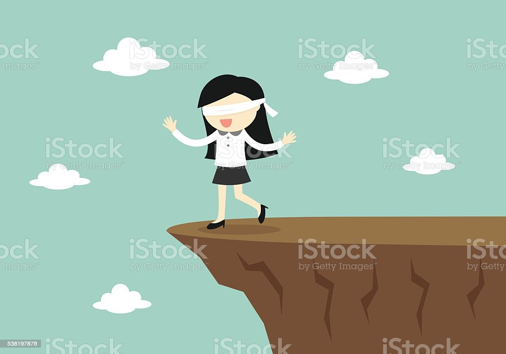 Blindfolded businessman is walking to the cliff. vector art illustration