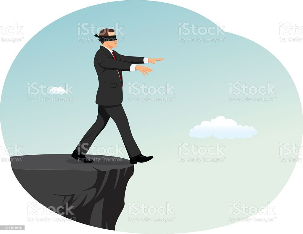 Blindfolded businessman vector art illustration