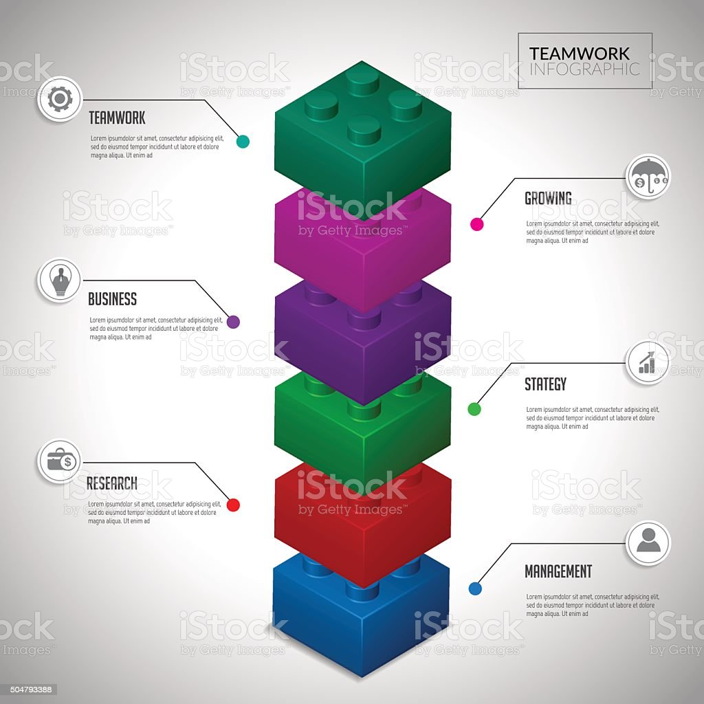 Block infographic concept teamwwork. vector art illustration