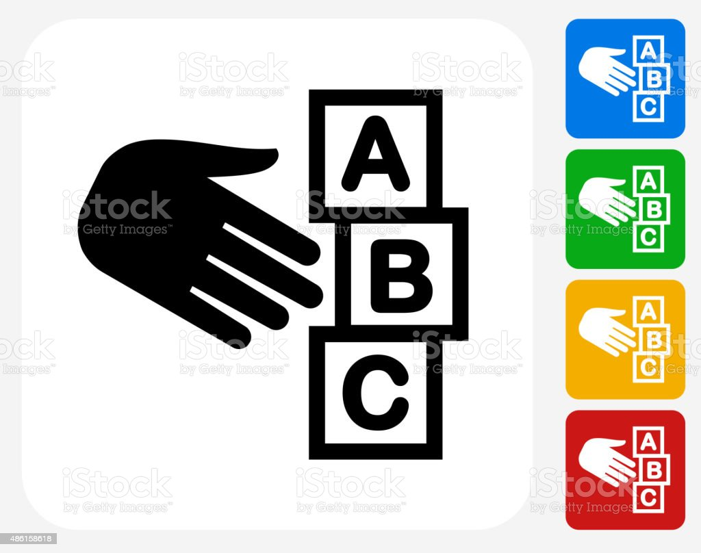 ABC Blocks Icon Flat Graphic Design vector art illustration