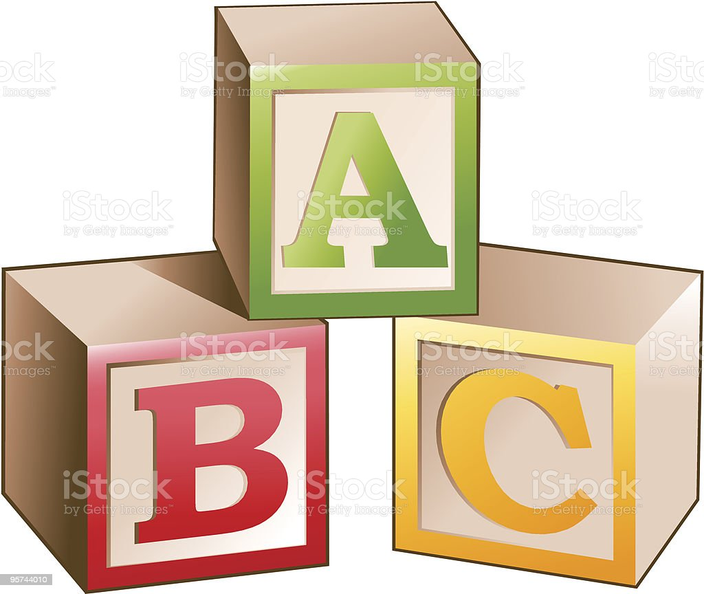 blocks with letters vector art illustration
